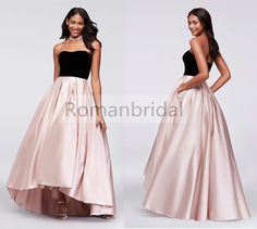 2018 Newest Gorgeous Strapless Ball Gown, Short Front Long Back, Side pockets, A texture hit with the color Prom Dress, PD0436