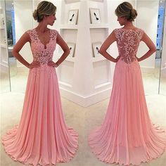 A-line V-neck Lace Appliqued Bodice Pink Chiffon Skirt Prom Dress APD1680 - Thumbnail 1
