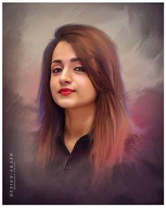 Trisha Photos, Super Pictures, Indian Art Paintings, Digital Paintings, Indian Photoshoot, Digital Art Girl, Girl Sketch, Beauty Full Girl, Beautiful Girl Indian