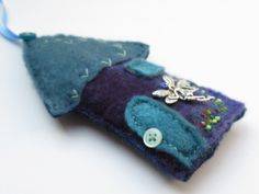 Fairy House - Tooth Fairy Pocket - created from handmade wool felt by LittleDeb.  See more by LittleDeb on Pinterest, Etsy and Facebook. Tooth Fairy, Felt Crafts, Wool Felt, Coin Purse, Teal, Pocket, Purses, Facebook, Handmade