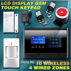 Russian/English Touch GSM panel LCD Wireless Smart Burglar voice Door Alarm F home Protection Motion Sensor Device Auto Dial DIY