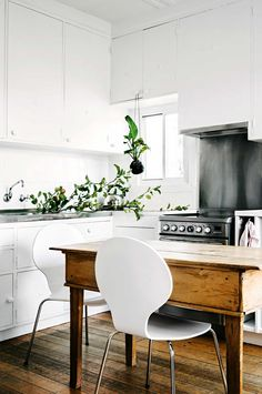Eclectic styled kitchen and dining space
