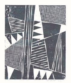 Modern Abstract Tribal Linocut Art