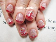 Red French nails.