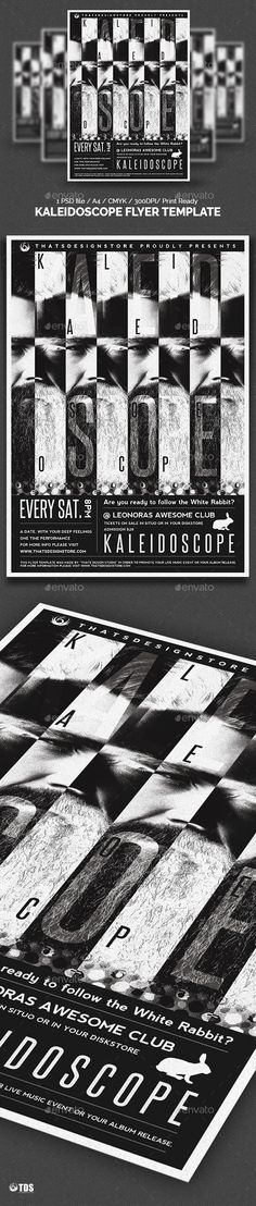 Dj Flyer Flyer template, Party poster and Font logo - black and white flyer template