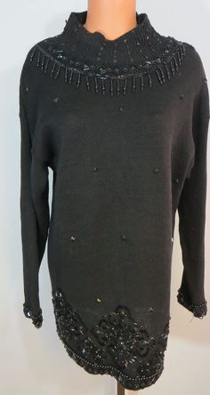 """STUDIO COLLECTION"" LONG BLACK BEADED TUNIC SWEATER - PLEASE SEE ALL PICTURES #STJOHNSBAY #TurtleneckMock"