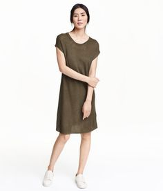 Check this out! Straight-cut, short-sleeved dress in a soft rib knit with a sheen. Unlined. - Visit hm.com to see more.