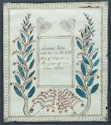 Shendoah Valley, Viirginia fraktur for Lovina Estep, Dated 1835.