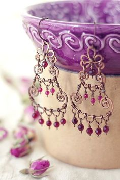 Fantastic purple faceted gemstone earrings. Συρμάτινα Σκουλαρίκια 8aa38dbc2f7