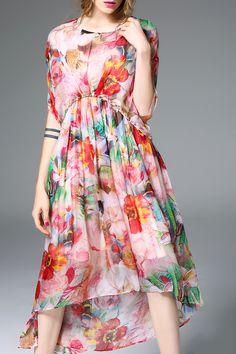 Romantic Floral Print Rhinestone Maxi Dress! Gorgeous Colors! #Romantic #Elegant…
