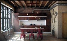Un frontal de cocina, con unas puertas que la ocultan o la dejan a la vista.