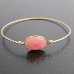 Gemstone Bangle Bracelet Peruvian PINK OPAL  Gold by FrostedWillow, $39.00