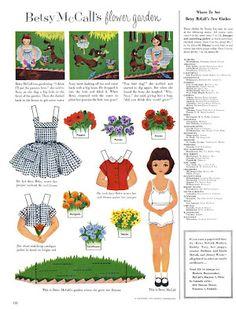 Bonecas de Papel: Betsy McCall's flower garden, 1954