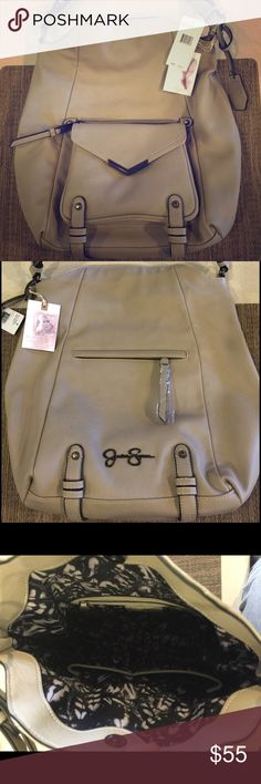 NWT Jessica Simpson Over the Shoulder bag Brand new beige/gray handbag. Over the shoulder style. Zippered & snap pocket in front. Additional zippered pocket in back. Pockets inside lining for extra storage. Retail price: $108 Jessica Simpson Bags Shoulder Bags