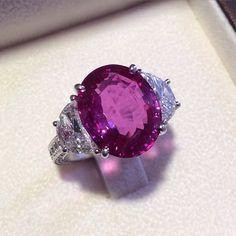 Prima Gems Pink Sapphire & Diamond Half Moon Ring