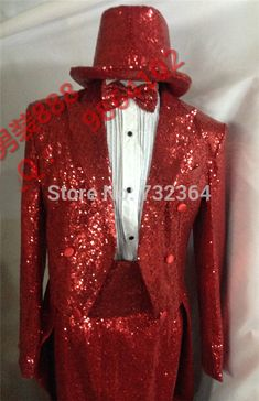 0e81c4f5 US $118.0 |luxury full sequins red mens tuxedo suit jacket with sequins  pants medieval jacket stage performance swallowtail suit-in Men's Costumes  from ...