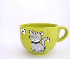 Cat mug, custom mug, cat cup, grey cat, big mug with cat, cat coffee mug, lime green mug, hand painted on Etsy, $24.64