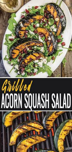 Grilled Acorn Squash Salad is the perfect holiday side dish, hearty main dish for entertaining, or just an easy fall family dinner. Grilling acorn squash is easy, and adds incredible flavor to this autumn salad! Holiday Side Dishes, Side Dishes Easy, Side Dish Recipes, Acorn Squash Recipes, Vegetable Recipes, Vegetarian Recipes, Healthy Recipes, Salad Recipes