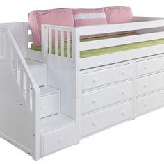 Maxtrix Kids Storage Loft Bed With Staircase