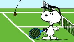 Snoopy Getting Lobbed Over on the Tennis Court