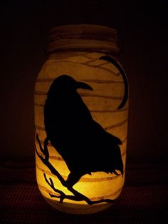 Primitive Halloween Crow Lantern by RedHedPrims on Etsy