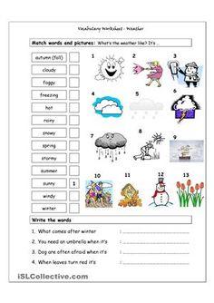Vocabulary Matching Worksheet - WEATHER
