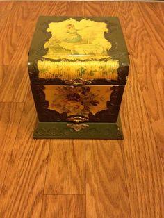 Antique VTG Victorian Woman Cuff Collar Celluloid Vanity Dresser Box