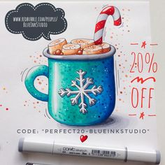 """This very cute Christmas mug with hot chocolate and marshmallows is now available in my Redbubble shop on prints, greeting cards, mugs etc. Save 20% TODAY ONLY using code """"perfect20-BlueInkStudio"""" on @redbubble #dessert #hotchocolate #hotchocelatelover #sketch #sketchflashmob #sketchchallenge #hotchocolateillustration #christmasillustration #sweetfood #sketchbookart #copic #copicmarkers #copicart #copicsketch #copicsketchmarkers #365daysofsketching #sketcheveryday #dailysketching…"""