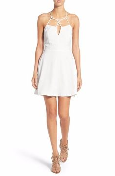 Cream and Sugar Strappy Skater Dress Small Ivory $58 FTC #4467