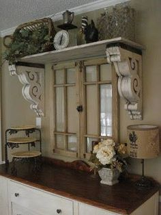 The Red Chandelier: Our First House (Dining Room). Wow, reclaimed window, corbels as shelf supports. this is lovely use of architectural salvage! ❤️ corbels flanking window over kitchen sink! Shabby Chic Decor, Rustic Decor, Farmhouse Decor, Farmhouse Style, Country Style, Salvaged Decor, Cottage Style, French Farmhouse, Reclaimed Windows