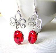 Romantic Ruby Red Earrings Vintage Swarovski