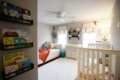 Guest room & nursery, neutral with color in accessories (pillows)