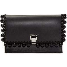 Proenza Schouler Black Lunch-Bag Clutch (€815) ❤ liked on Polyvore featuring bags, handbags, clutches, proenza schouler pochette, macrame handbags, crochet purse, proenza schouler handbag and structured purse