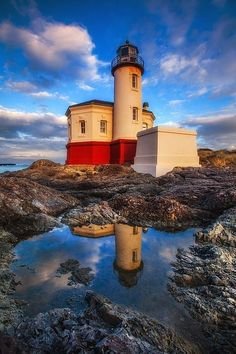 Coquille river lighthouse Oregon USA
