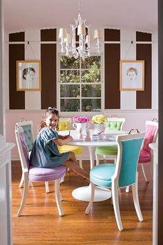 Fun breakfast room! Saarinen table from knoll.com, antique chairs & chandelier, chair fabric from internationalsilk.com, Mink & Linen White paint from Benjamin Moore.