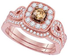 14kt Rose Gold Womens Round Cognac-brown Colored Diamond Bridal Wedding Engagement Ring Band Set 3/4 Ctw