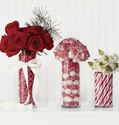 Fun Christmas centerpieces ... using peppermints and other red, white candies
