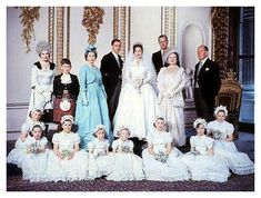 The Royal Family at the Wedding of H.R.H. Princess Margaret with Anthony Armstrong Jones 1960.