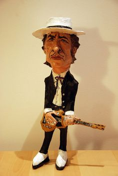 Bob Dylan Paper mache figure caricature by PapelmacheBarcelona
