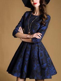 Azul de cuello redondo Longitud de la manga vestido de jacquard -SheIn (abaday)