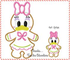 Daisy Duck Gingerbread Cookie Applique Digital Embroidery