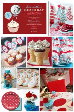 Red and Aqua Birthday Party Inspiration Board