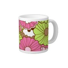 Pretty Pink Green Flowers Spring Floral Pattern Extra Large Mug