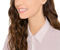 Swarovski Angelic Pierced Earrings, White, Rhodium plating
