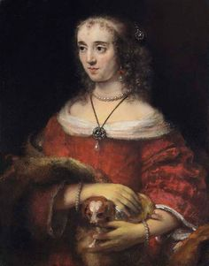 Portrait of a lady with a lap dog Artwork by Rembrandt van Rijn Hand-painted and Prints Art for sale,you can custom the size and frame Leiden, Rembrandt Portrait, Rembrandt Paintings, Rembrandt Art, Dutch Artists, Famous Artists, List Of Paintings, Art Gallery Of Ontario, Google Art Project