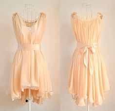 Angelic Spring. Peach Chiffon Wavy Hem Sleeveless Dress.