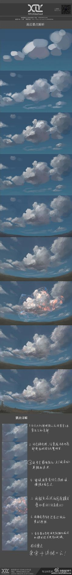 New Digital Art Tutorial Sky Ideas Digital Painting Tutorials, Digital Art Tutorial, Art Tutorials, Process Art, Painting Process, Doodle Drawing, Cloud Drawing, Cloud Art, Poses References