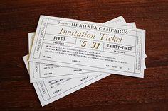 Mori Beauty corp|Head Spa Campaign Ticket Ticket Invitation, Wedding Invitation Cards, Wedding Cards, Invitations, 11th Birthday, Birthday Ideas, Ticket Design, Collateral Design, Winter Formal