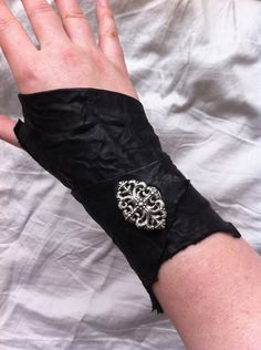 Glam Vandal Raw Edged Tattered Distressed Black Lamb Leather with Filigree Silver Concho by DejaLaVogue, $41.00