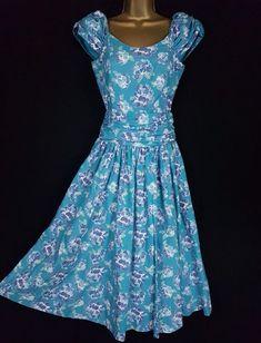 80s tea dress cotton Laura Ashley dress mint green polka dot dress size UK 4 US 8 S EU 36 turquoise dress sleeveless vintage sundress